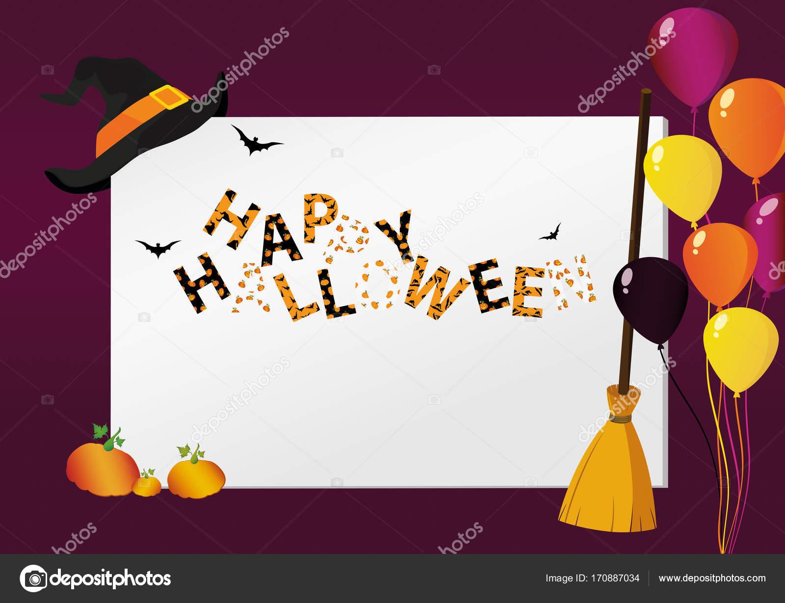 Greeting Card For Halloween Creative Frame With A Pumpkin Broom