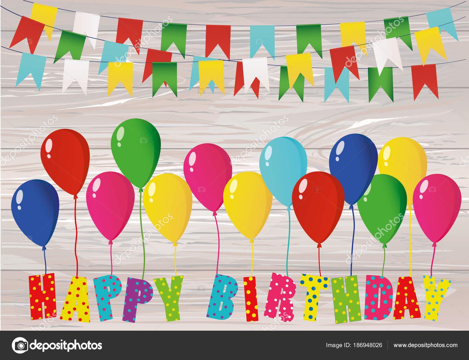 Kleurrijke Brieven Gelukkige Verjaardag Op Ballonnen Regenboog