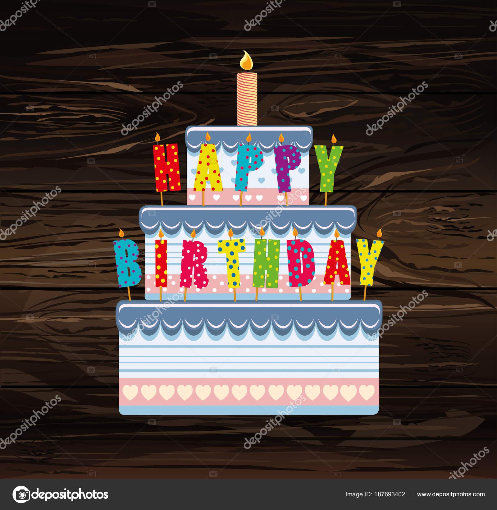 Festive Big Cakeletters Happy Birthday Greeting Card Stock