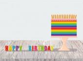 Una festa multicolore e iridescente grande torta con candele