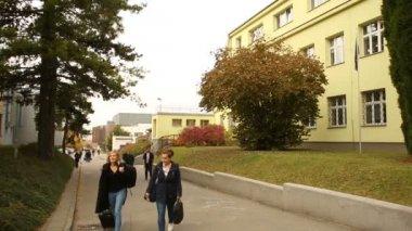 Mendelova univerzita v Brně studenti jít do a ze školy, dívky, chlapci, autentické