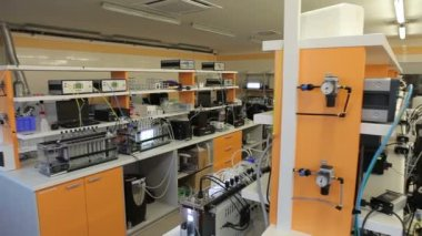 Scientists algae research in a professional modern laboratory