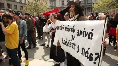Czech people activists protest against extremists suppressing democracy