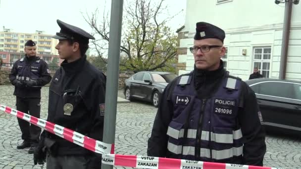 President of the Czech Milos Zeman visiting, police protect presidential corps