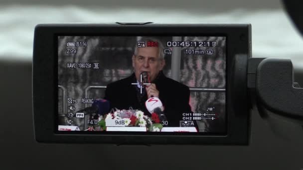 President of the Czech Republic Milos Zeman visiting Mohelnice, president in camera viewfinder, LCD display, talks about politics