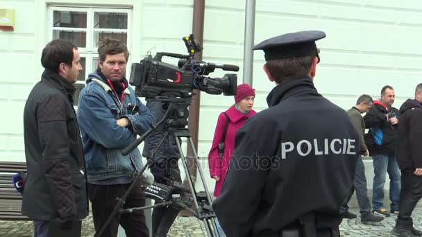 President of the Czech Republic Milos Zeman visiting Mohelnice in the Olomouc Region, People meeting at Kostelni Square, television TV cameramen
