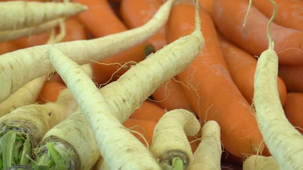 Mrkve Daucus carota a Petržel Petroselinum crispum, kořenová zelenina v městské tržnice, velmi svěží a zdravá, mnoho vitaminů a minerálních látek, detail
