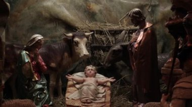 Bethlehem hand carved from wood, beautiful nativity creche statues of Jesus Christ a little baby