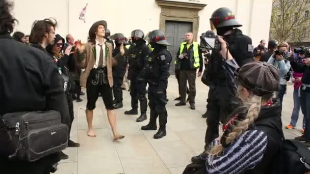 BRNO, CZECH REPUBLIC, MAY 1, 2017: Czech young people activists provocation protest first may day against extremists, police riot unit oversees, radicals suppressing democracy. Radical conflict