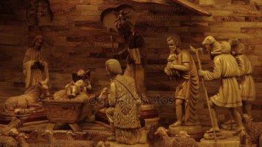 OLOMOUC, CZECH REPUBLIC, DECEMBER 17, 2017: Bethlehem hand carved from wood, beautiful nativity creche statues of Joseph, Mary, Jesus Christ a little baby