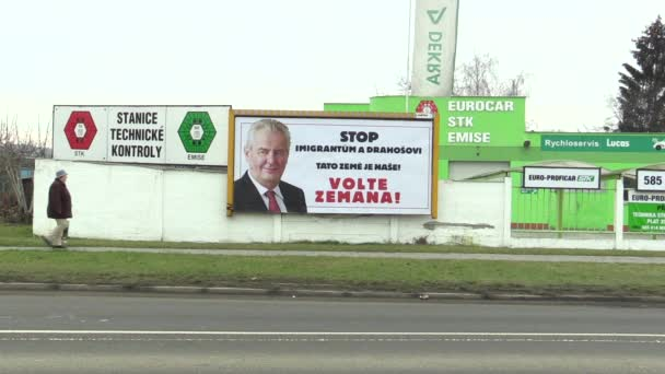 OLOMOUC, CZECH REPUBLIC, JANUARY 18, 2018: Billboard in support of the candidacy of Milos Zeman in direct election to the President of the Czech Republic in 2018, inscription: Stop Immigrants