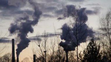 Továrna na zpracování roztaveného kovu a oceli, kouřové komíny černé timelapse, smog v Ostravě, prachu ve vzduchu, nebezpečí pro lidské zdraví kalamity vážná situace, rychlé kouř, stíny stromů