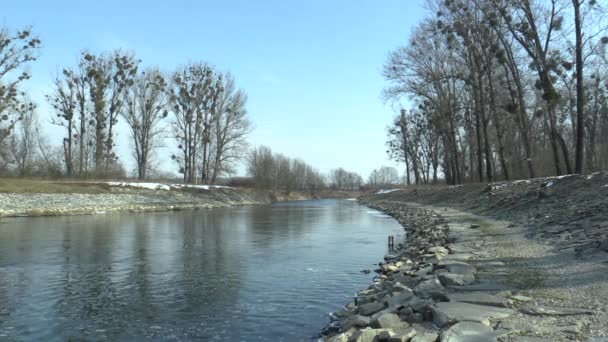 Regulated river Morava with flood protection measures large stones and concrete, increasing banks, building flood valleys and straightening the flow, contributing to the devastation of landscapes