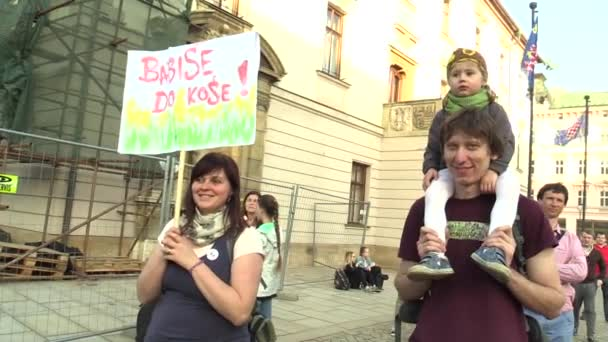 OLOMOUC, CZECH REPUBLIC, APRIL 9, 2018: Demonstration of people against the Prime Minister Andrej Babis and president Milos Zeman Prague, a banner with Babis inscription in the bin trash