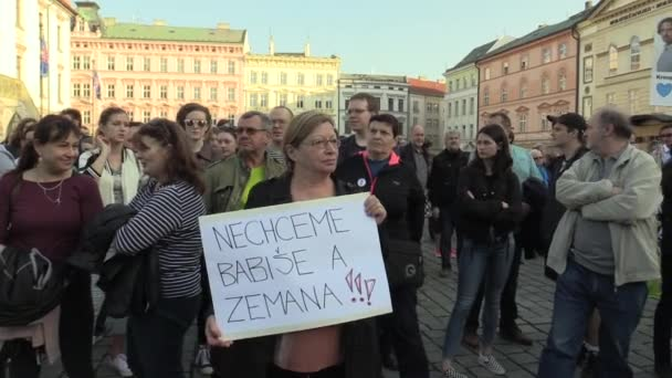 OLOMOUC, CZECH REPUBLIC, APRIL 9, 2018: Demonstration of people crowd against the Prime Minister Andrej Babis and president Milos Zeman, a banner with we do not want Babis and Zeman
