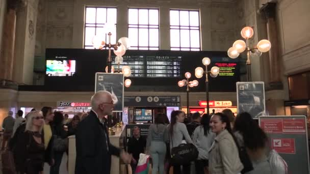 BRNO CZECH REPUBLIC, MAY 2, 2018: The main train station interior hall vestibule in the city of Brno, a historical building check-in hall, people go to the train, show signs of arrivals and departures