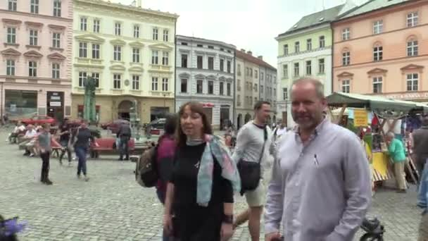 OLOMOUC CZECH REPUBLIC, MAY 9, 2018: Singer David Koller goes to the square in Olomouc at the coronation of the May King of Palacky University students