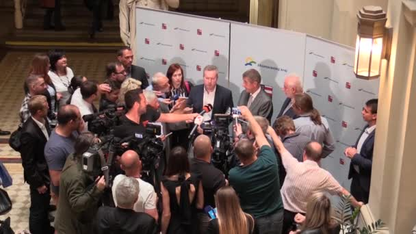 BRNO CZECH REPUBLIC, MAY 2, 2018: Prime Minister Andrej Babis and Richard Brabec arrived for the citizens of Brno, press conference for the public and citizens Brno, governor Simek, journalists media