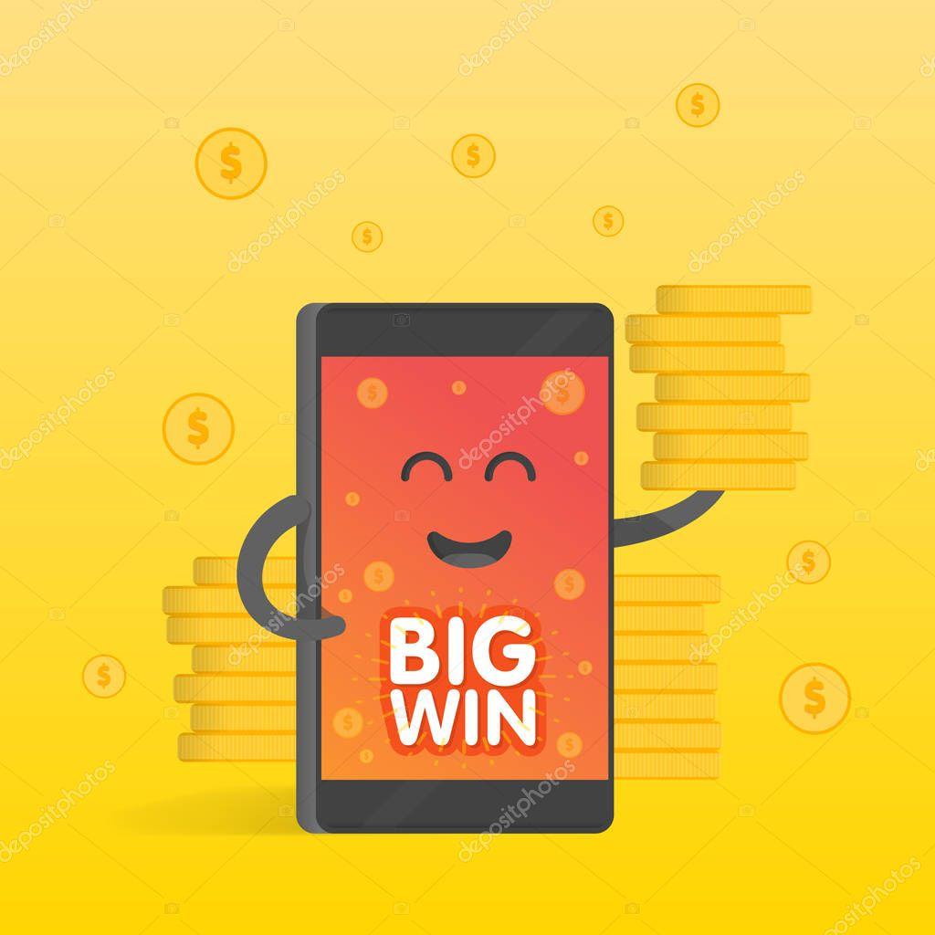 Smartphone Konzept Geld Gewinn Eine Menge Münzen Hintergrund Des