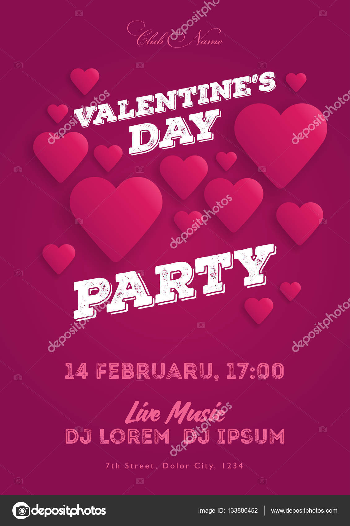 Valentines Day Party Invitation Flyer The Template For The Club