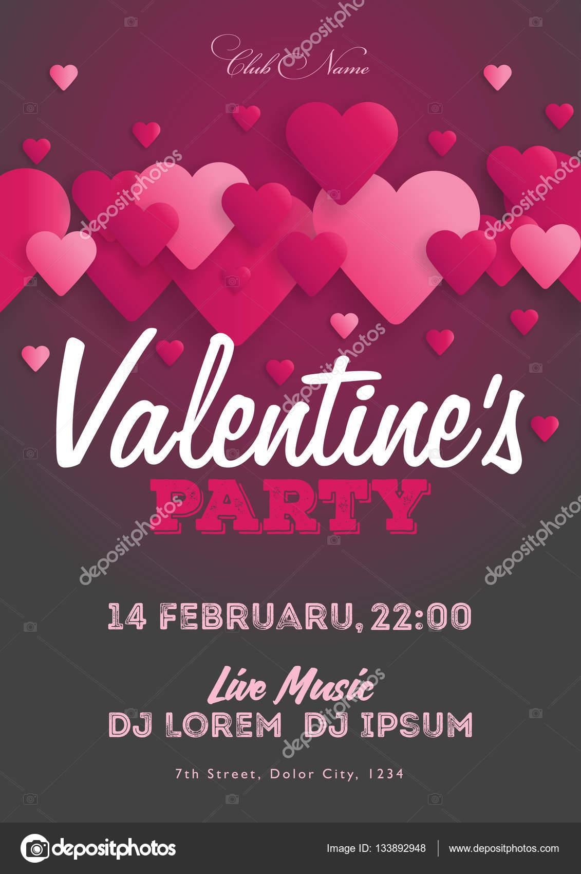 Valentinstag Party Einladung Flyer. Die Vorlage für den Verein ...