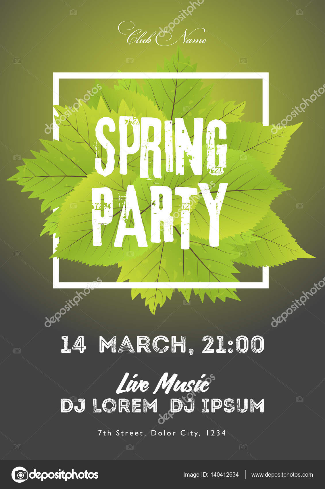 Spring night club party flyer invitation vector illustration poster spring night club party flyer invitation vector illustration poster template black and green background stopboris Choice Image