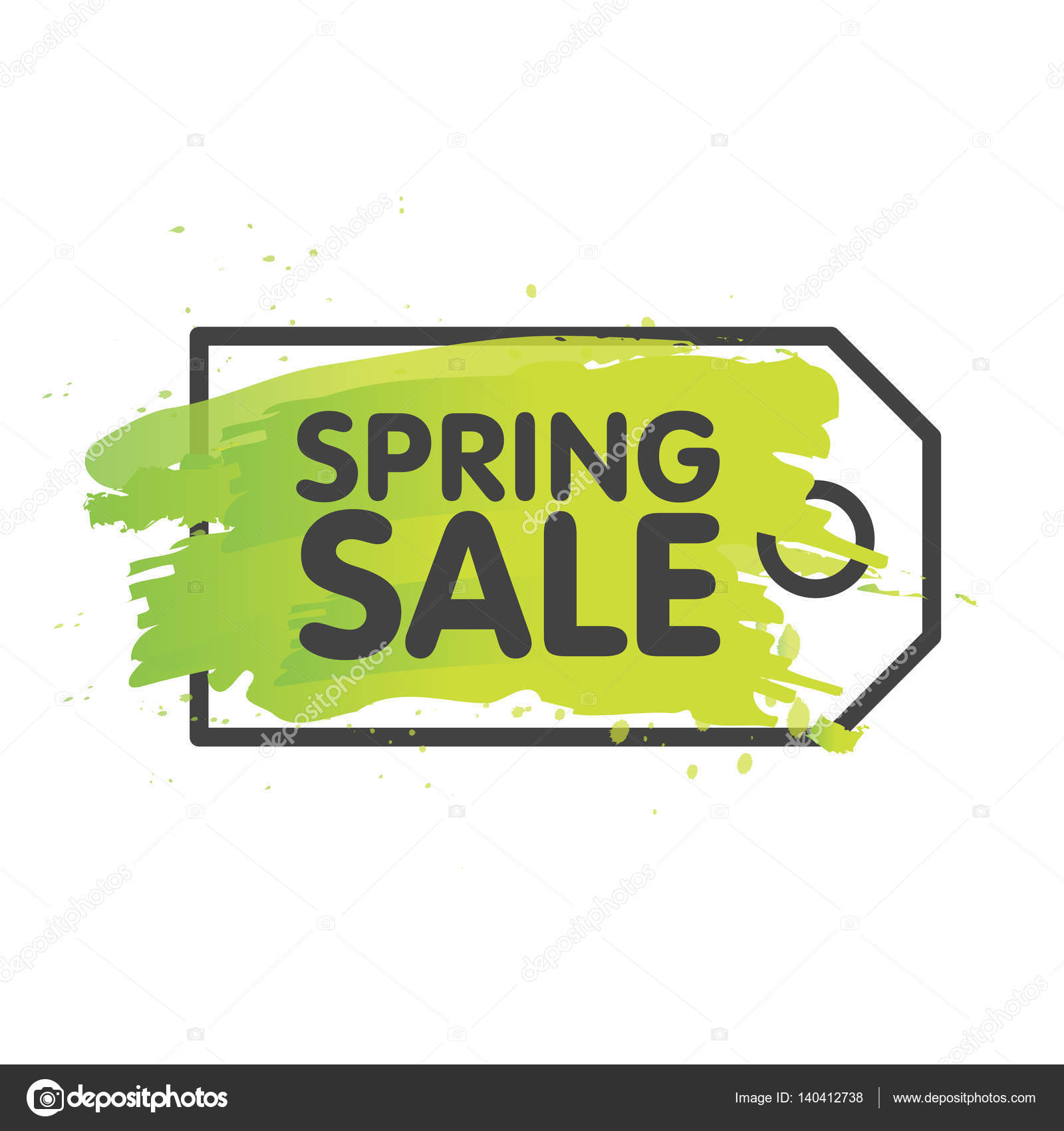 spring sale tag concept in painted brush background seasonal banner