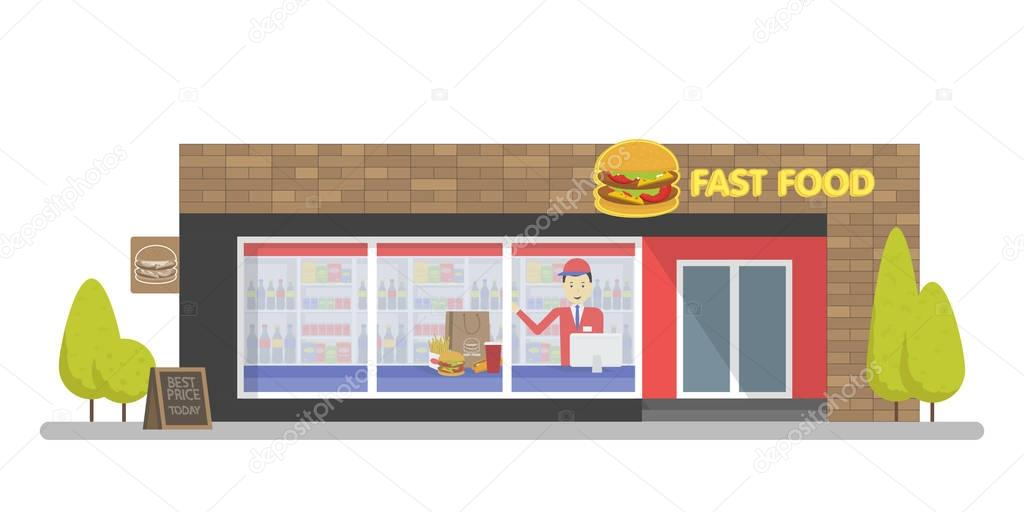 Facade of Fast Food Store Resataurant. Template concept for the website, advertising and sales