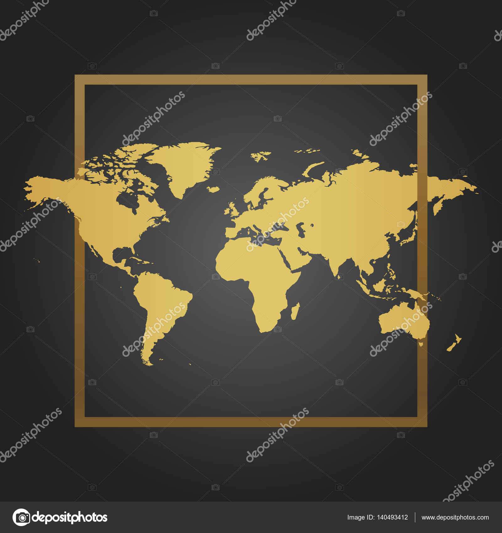 Golden political world map in black background with frame space for golden political world map in black background with frame space for text and quotes gumiabroncs Images