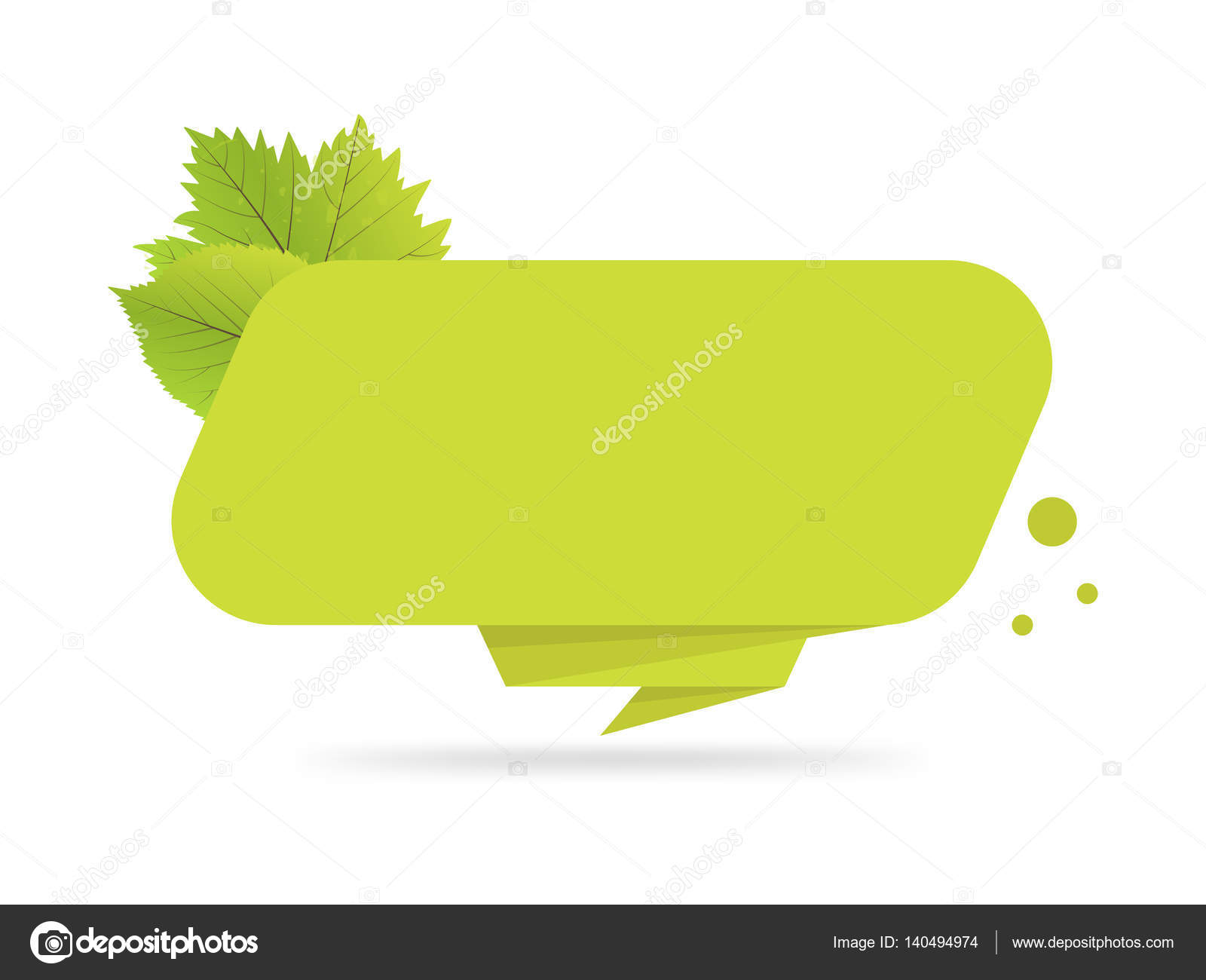 Green Paper Origami Banners With Leaves Template For Bio Products Sales Web Sites And Labels Place Text Vector Illustration By Vectorplus