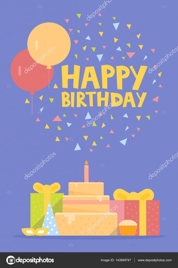 Disegno Di Carta Di Buon Compleanno Con Palloncini Coriandoli