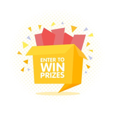 Enter to win prizes gift box. Cartoon origami style vector illustration