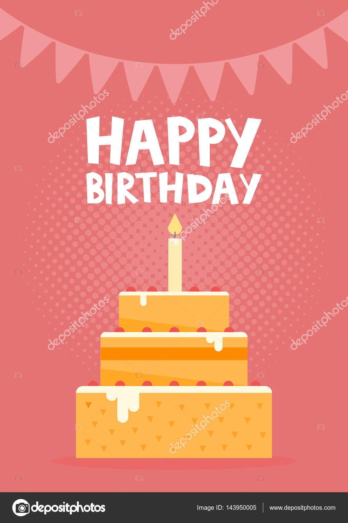 Happy Birthday Card Design Mit Kuchen Vektor Illustration Stockvektor