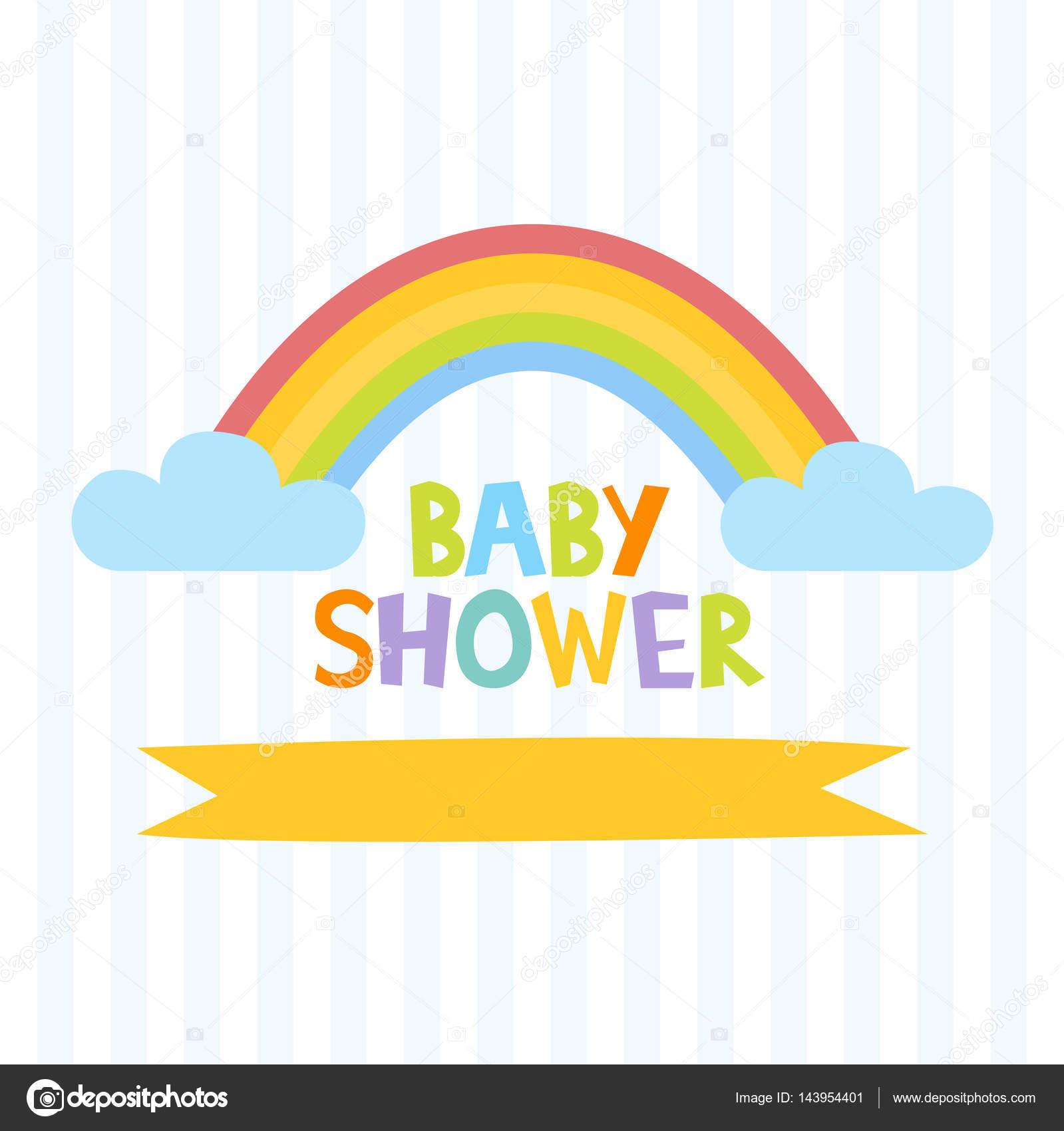Lindo bebé ducha invitación la plantilla con letras y arco iris ...