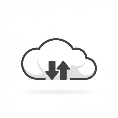 Cloud download and upload icon. Backup vector illustration