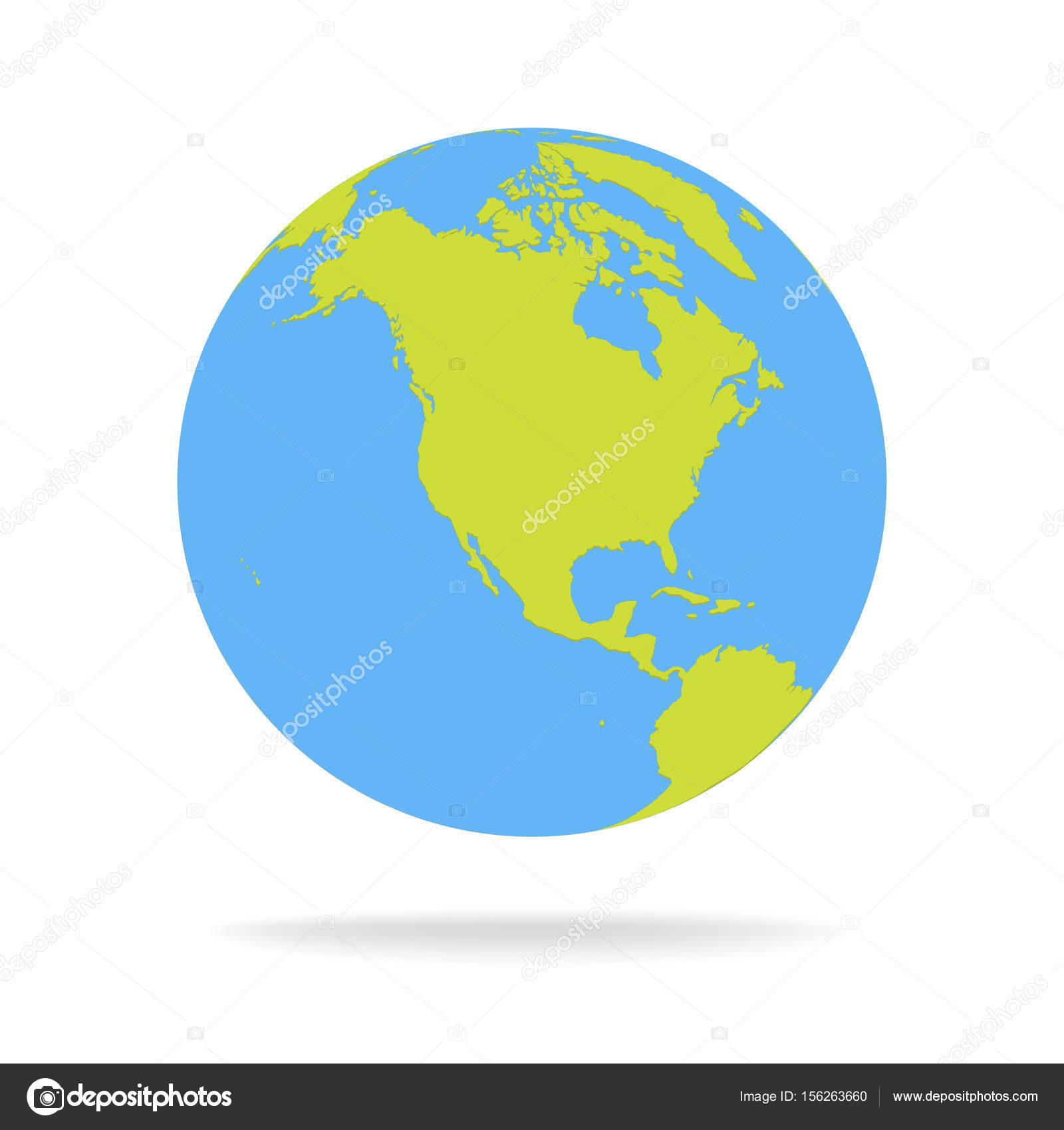 Vector Mundo Dibujo Verde Y Azul De La Historieta Mundial Mapa