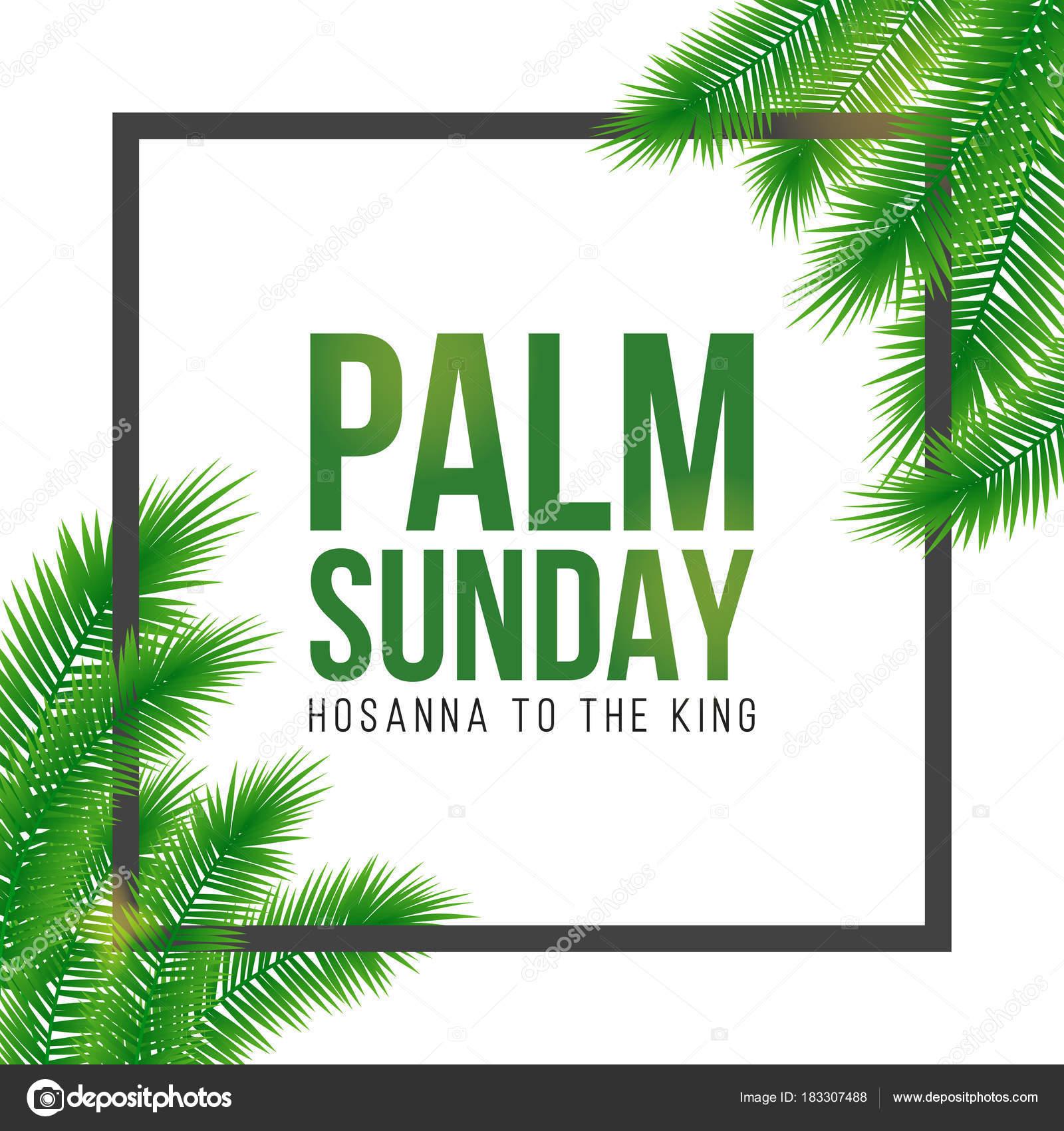 Am Palmsonntag Urlaub Karte, Plakat mit Palm Blätter Rahmen, Rahmen ...