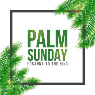 Palm Sunday holiday card, poster with palm leaves border, frame. Vector background