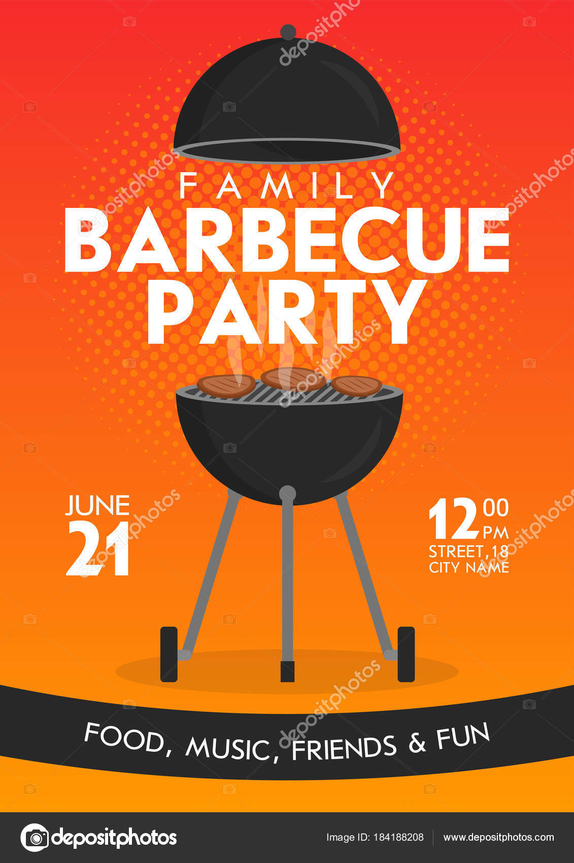 lovely vector barbecue party invitation design template set trendy