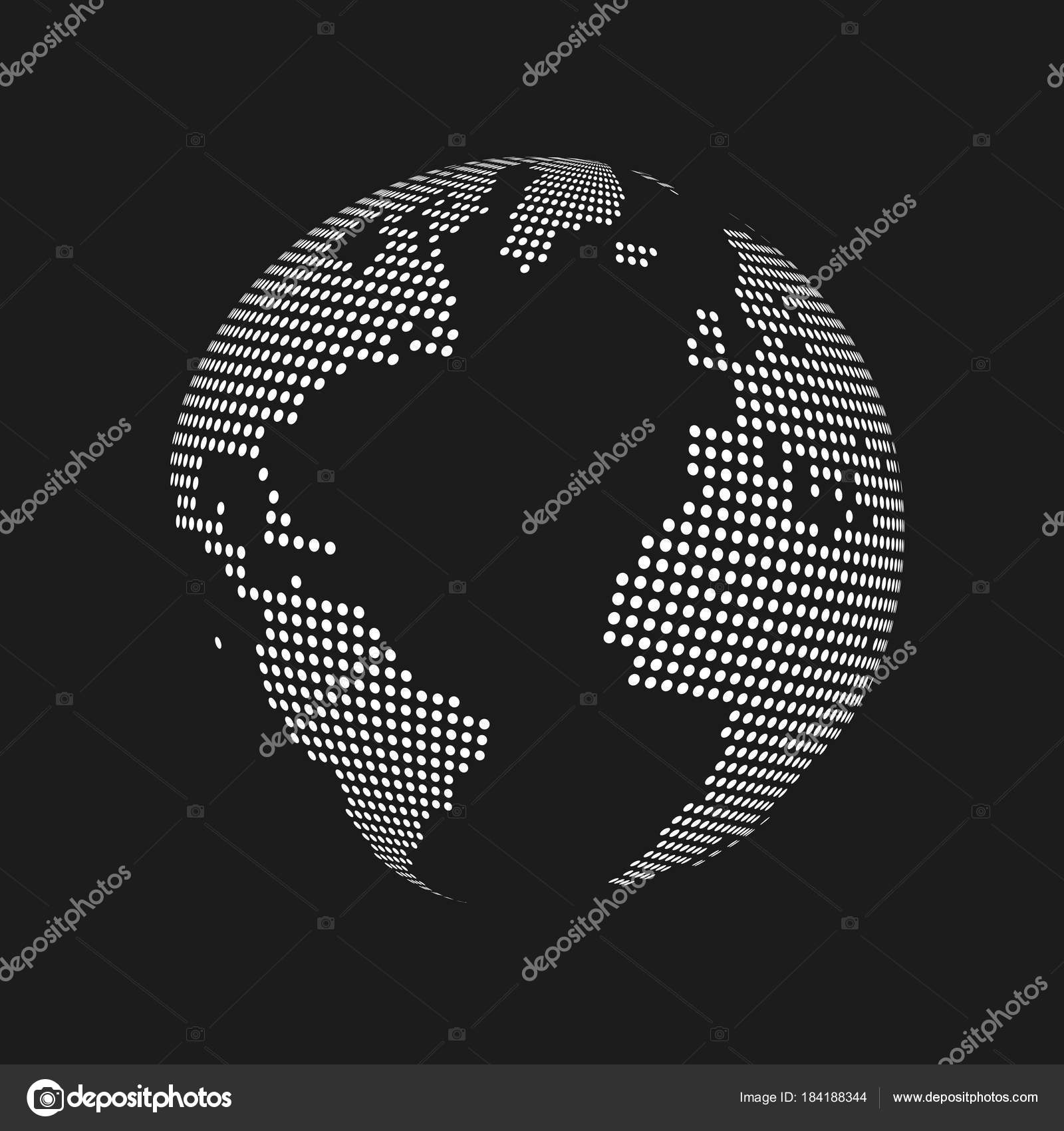 white dotted 3d earth world map globe in black background vector illustration stock vector
