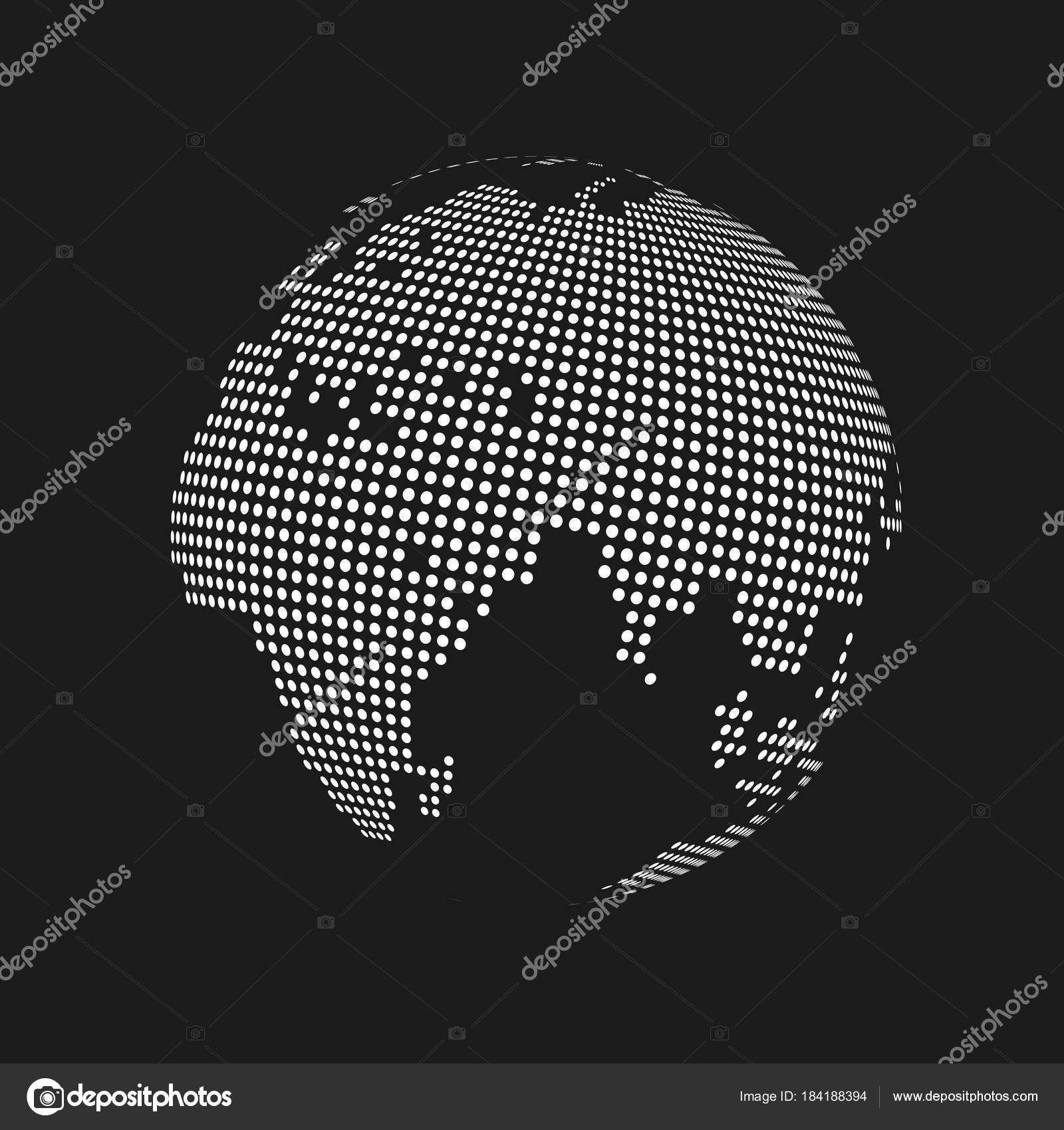 White dotted 3d earth world map globe in black background vector white dotted 3d earth world map globe in black background vector illustration stock vector gumiabroncs Image collections
