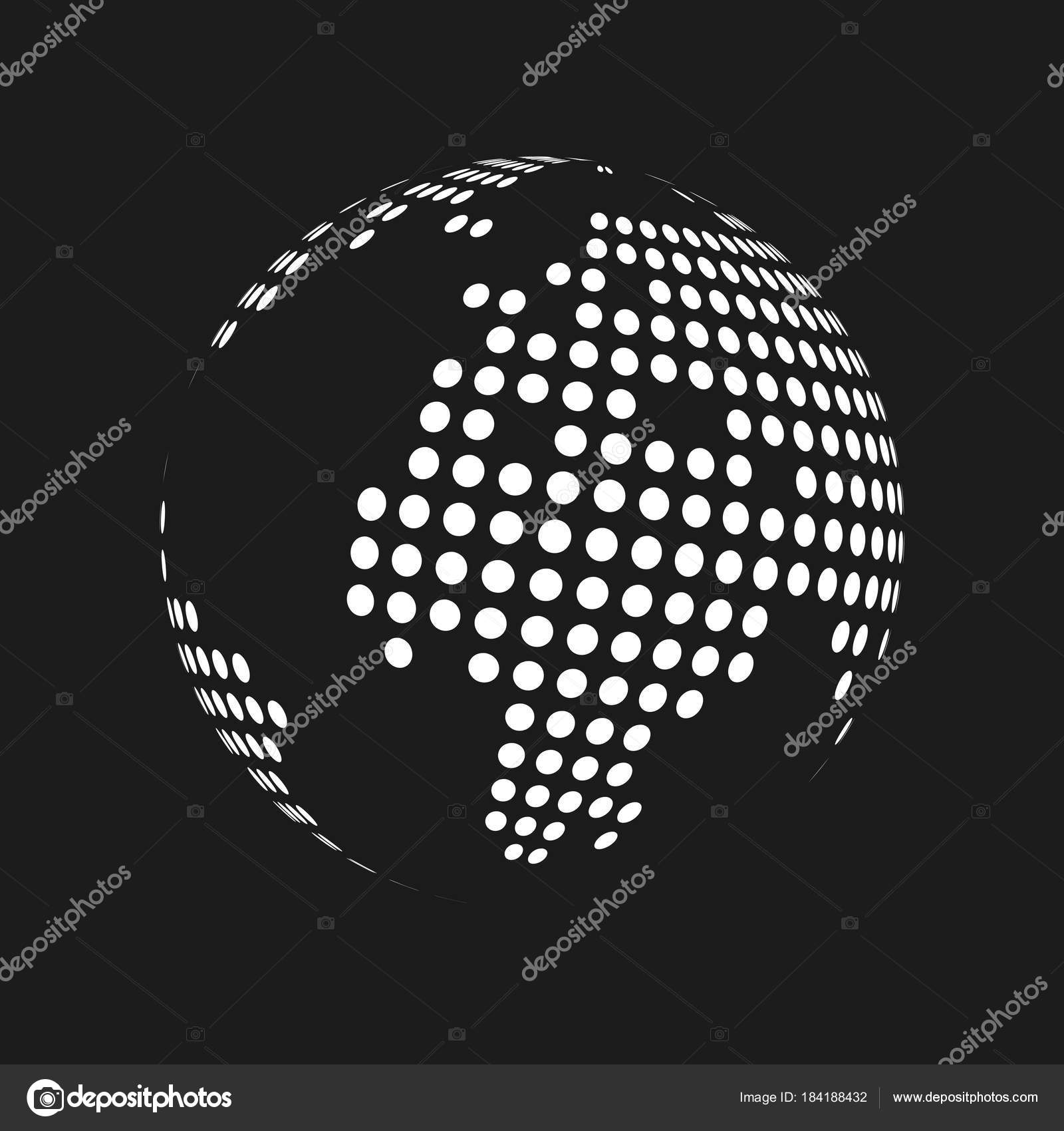White dotted 3d earth world map globe in black background vector white dotted 3d earth world map globe in black background vector illustration stock vector gumiabroncs Images