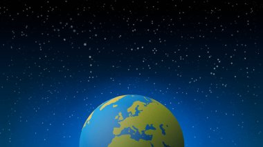 Blue shining vector Earth in space. Vector banner illustration