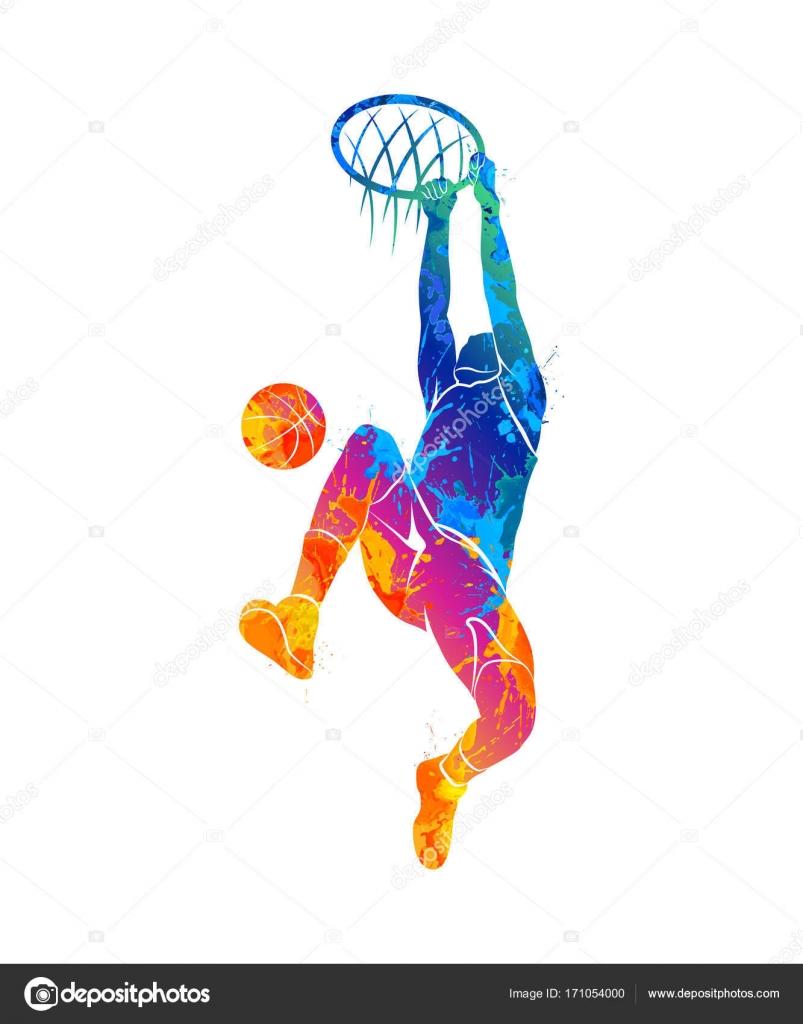 水彩絵の具のしぶきからボールを持つシルエット バスケット ボール プレイヤー。塗料のベクトル イラスト \u2014 ベクターkapona