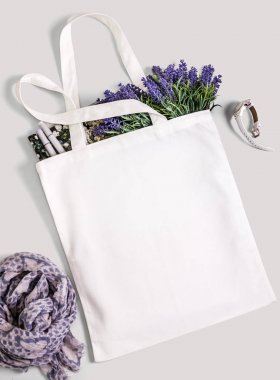 White blank cotton eco tote bag, design mockup.