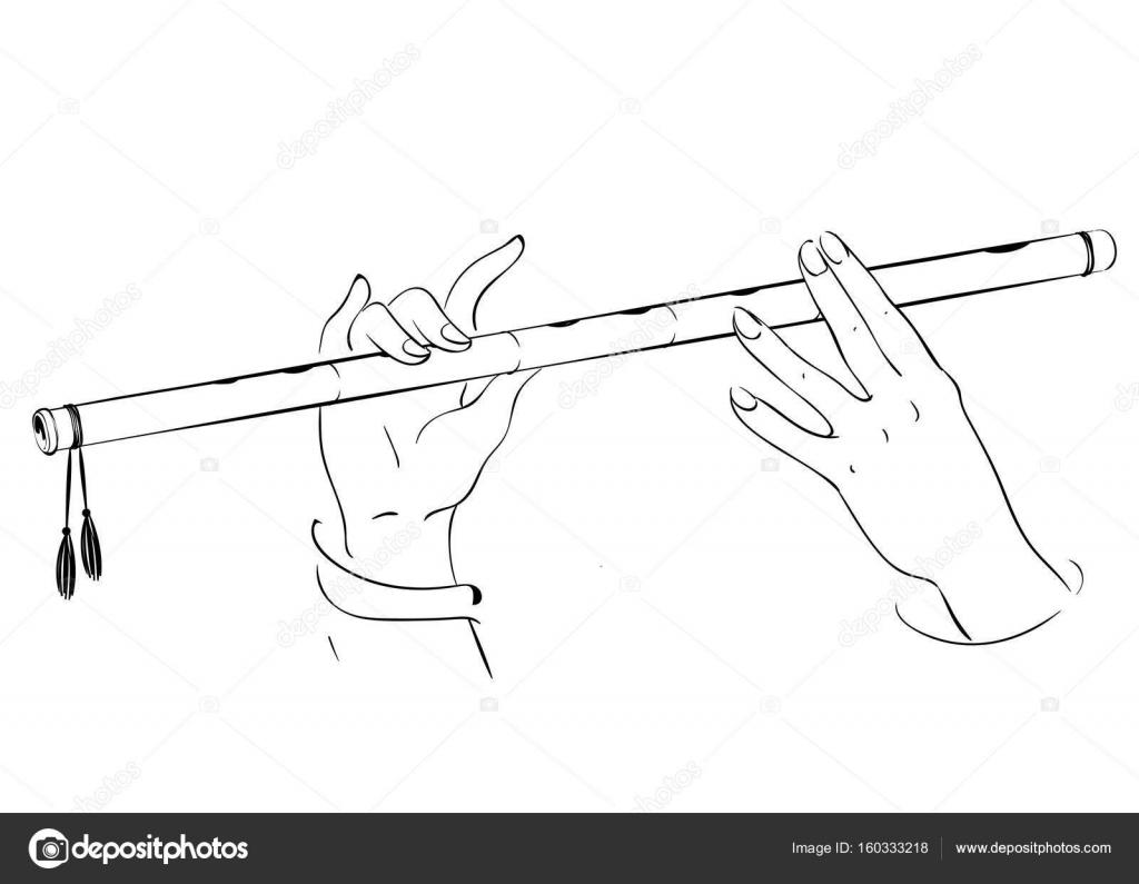 Dibujo de manos jugando en flauta. Ilustración de vector de Señor ...