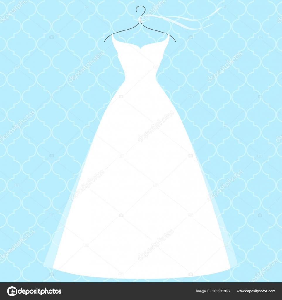 White bridal dress on hanger, fashion illustration — Stock Vector ...