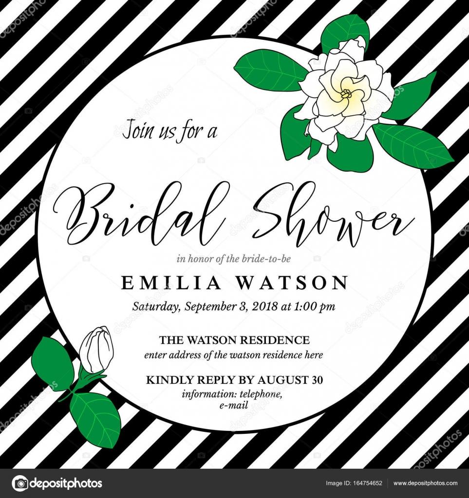 Brautdusche Einladung Kartenvorlage Mit Handgezeichneten Gardenia