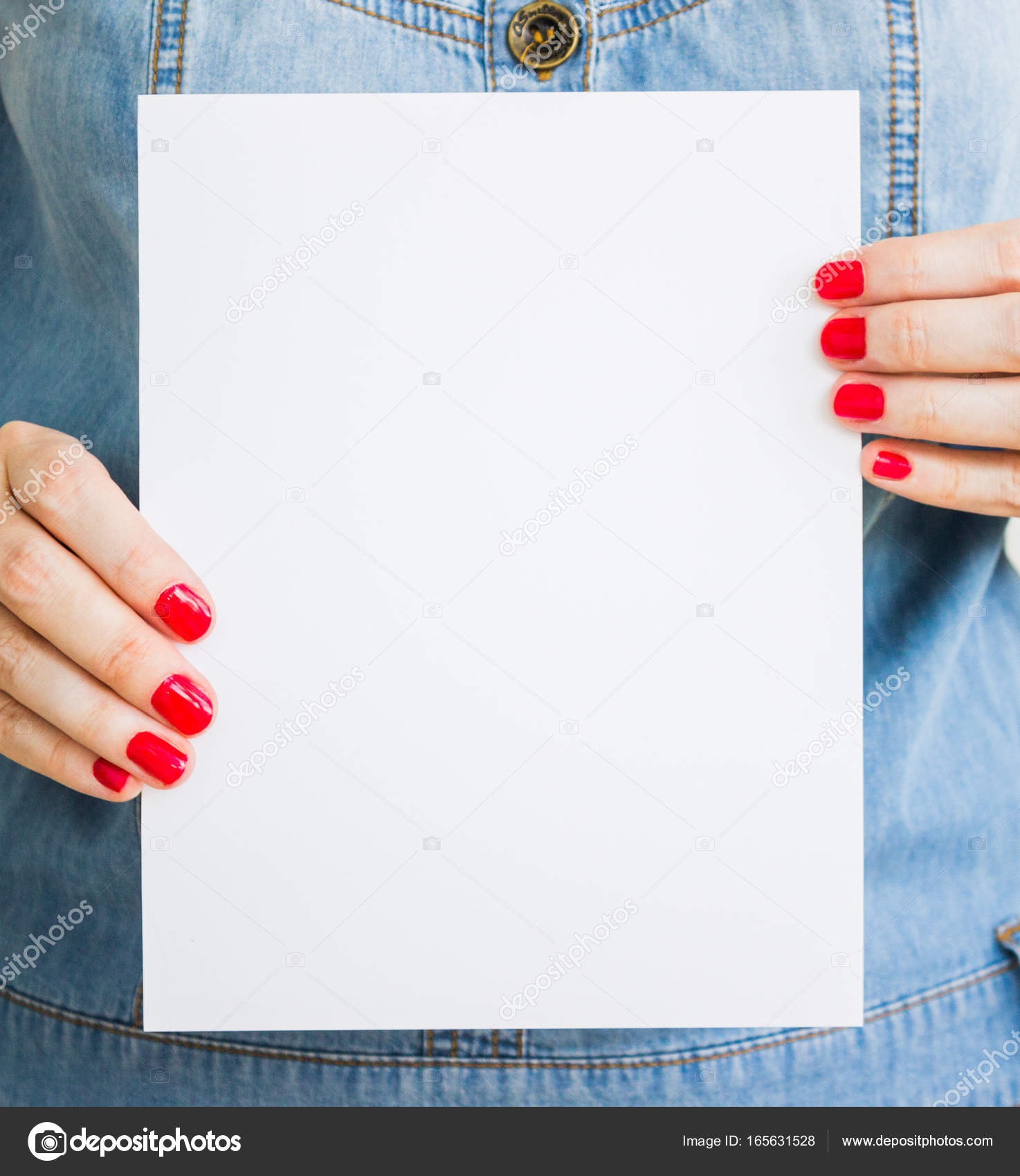 woman, girl holds blank white paper. mockup of the leaflet, Presentation templates