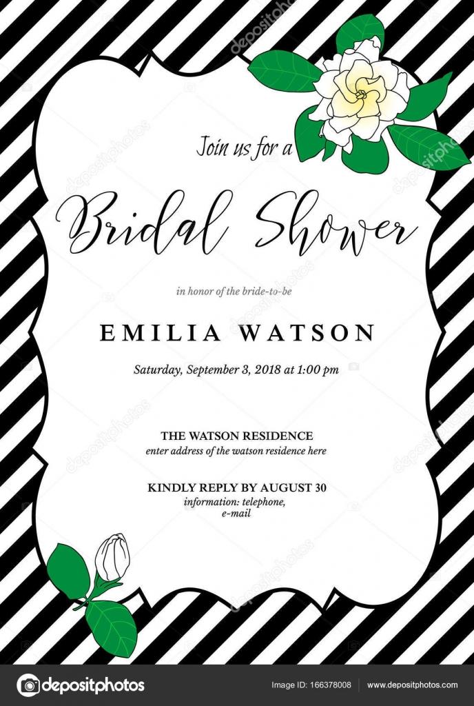 Brautdusche Einladung Kartenvorlage mit handgezeichneten Gardenia ...
